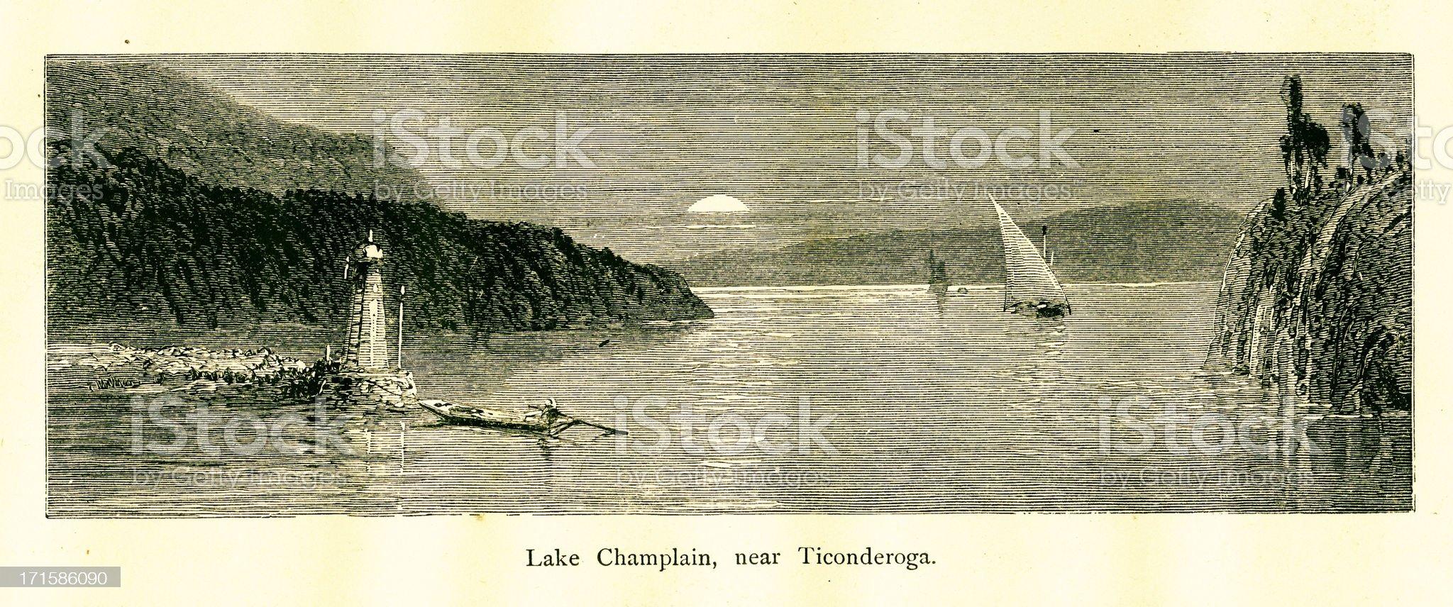 Lake Champlain near Ticonderoga, New York, wood engraving (1872) royalty-free stock vector art