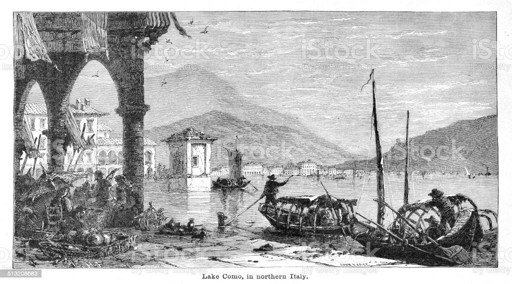 Lake Como engraving illustration vector art illustration