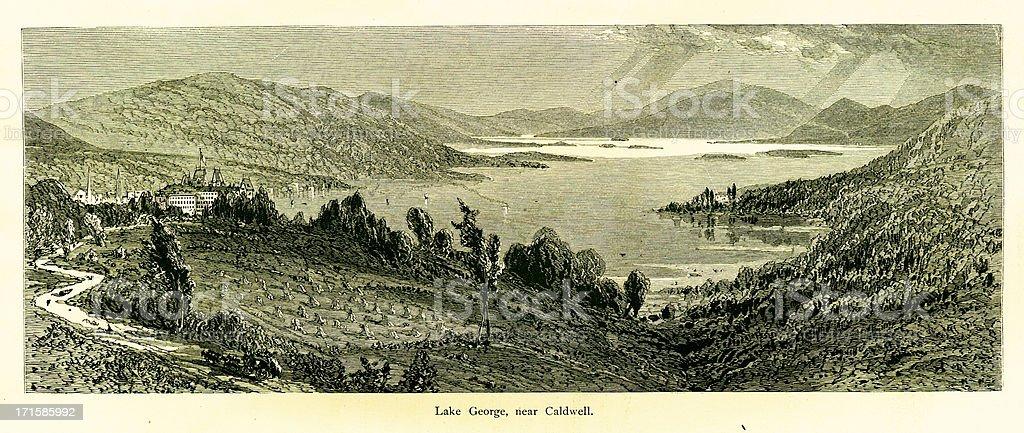 Lake George near Caldwell, New York vector art illustration