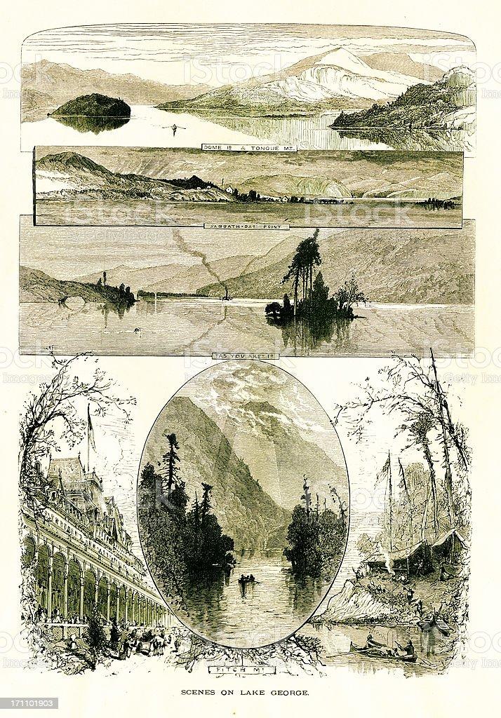 Lake George, New York vector art illustration