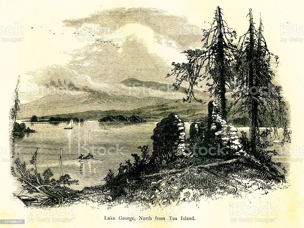 Lake George north from Tea Island, New York vector art illustration