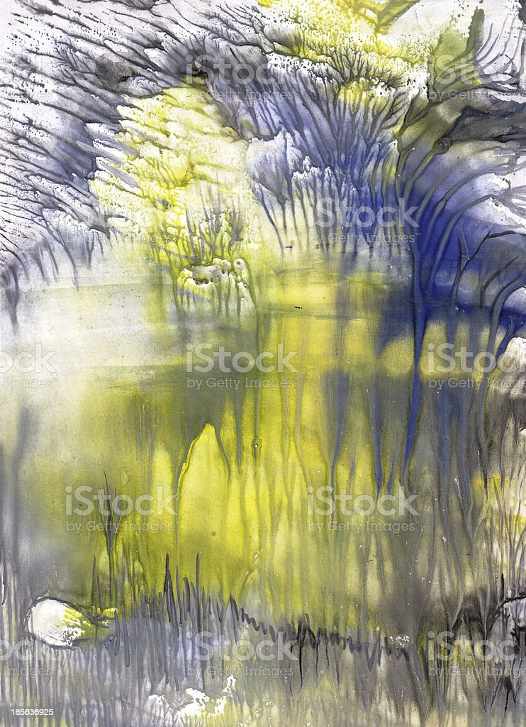 Lake in a cave vector art illustration