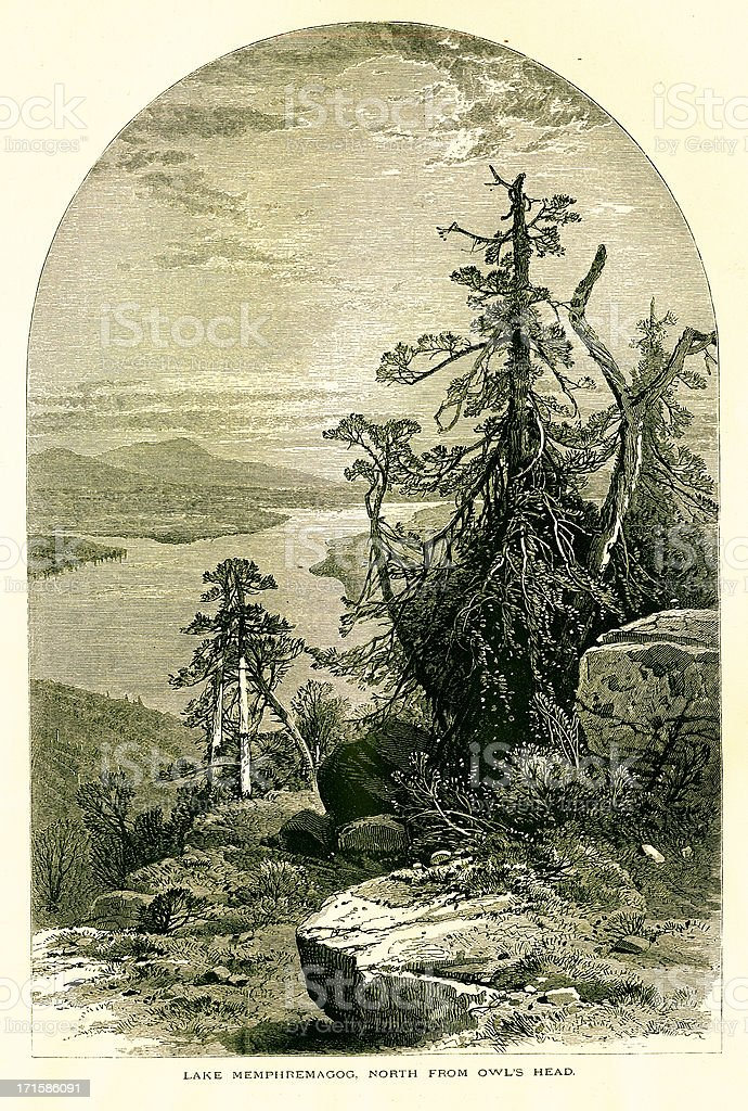 Lake Memphremagog north from Owl's Head, wood engraving (1872) royalty-free stock vector art