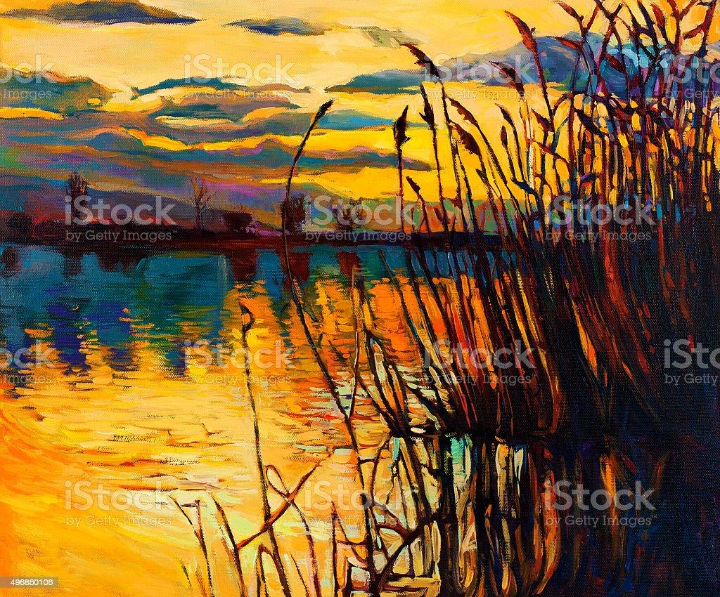 Lake on sunset vector art illustration