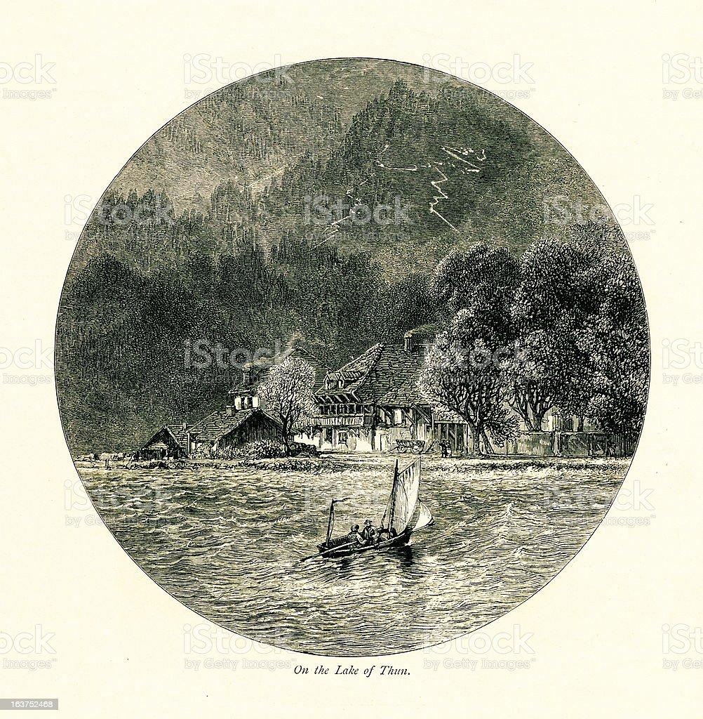 Lake Thun, Switzerland I Antique European Illustrations royalty-free stock vector art