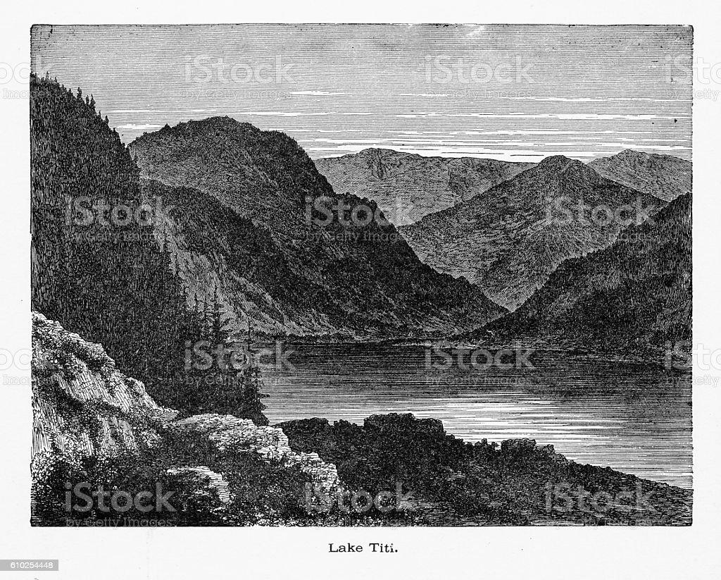 Lake Titisee in Black Forest, Baden-Württemberg, Germany, Circa 1887 vector art illustration