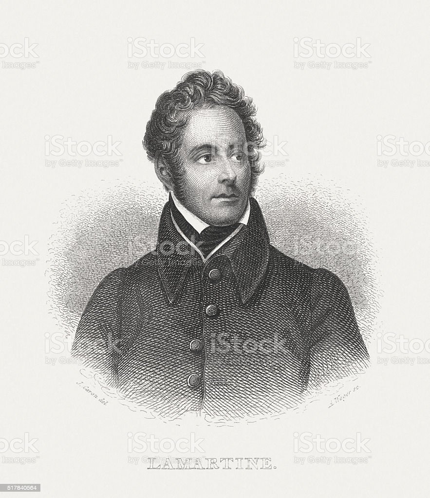 Lamartine (1790-1869), French poet, steel engraving, published in 1868 vector art illustration