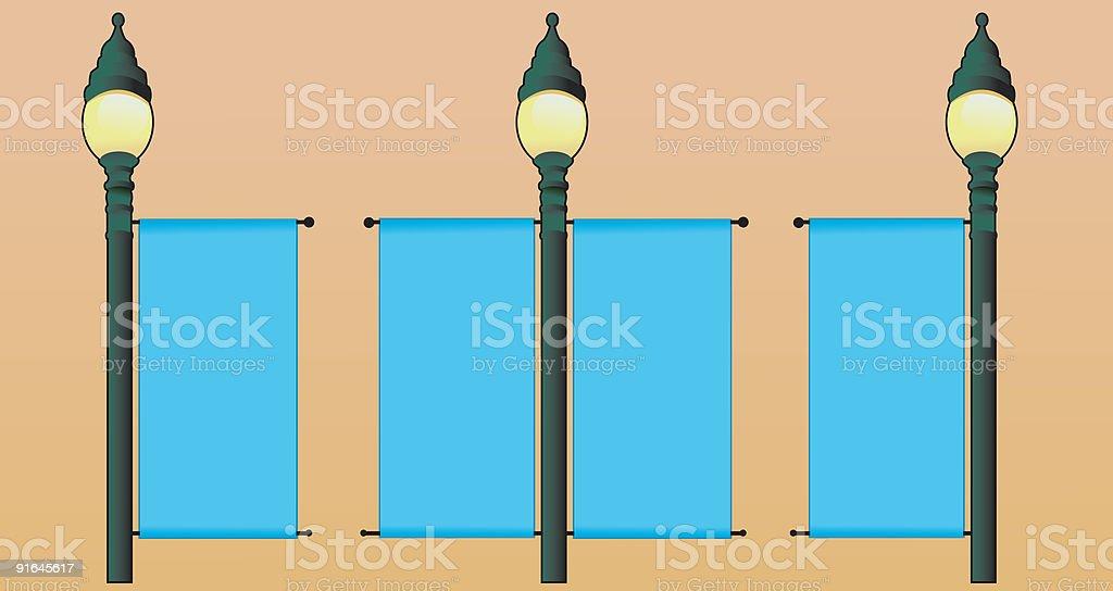 Lamp Post Banner vector art illustration
