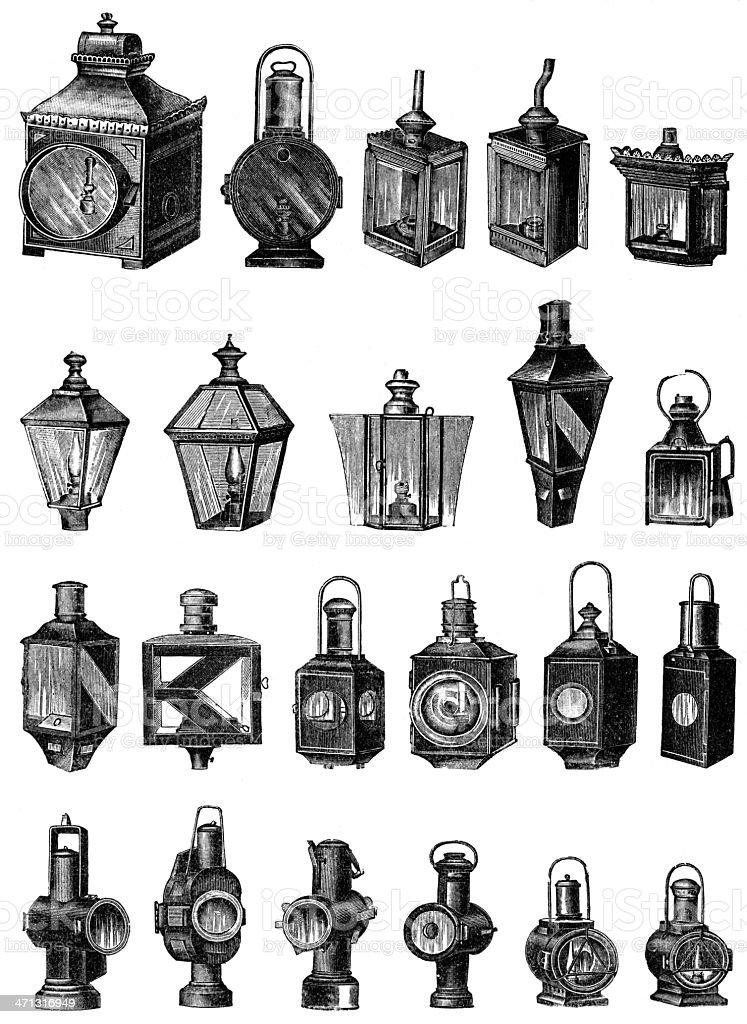 lamps vector art illustration