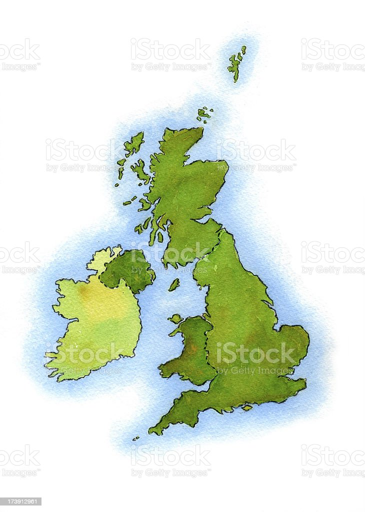UK land and sea watercolor map. royalty-free stock vector art