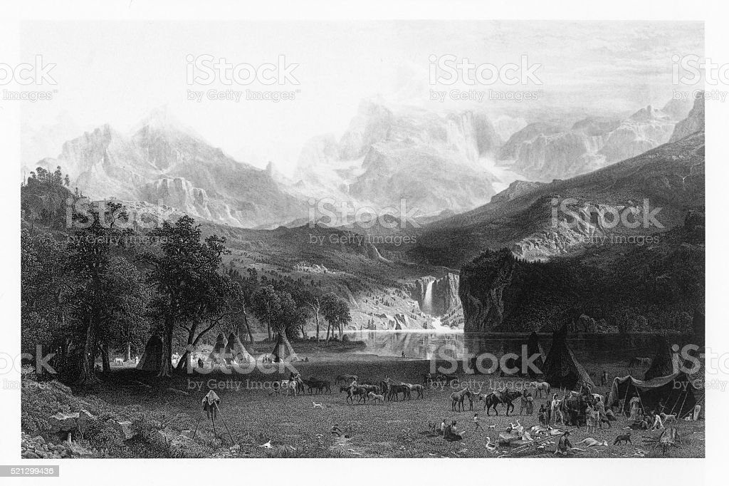 Lander's Peak in the Colorado Rocky Mountains Victorian Engraving vector art illustration