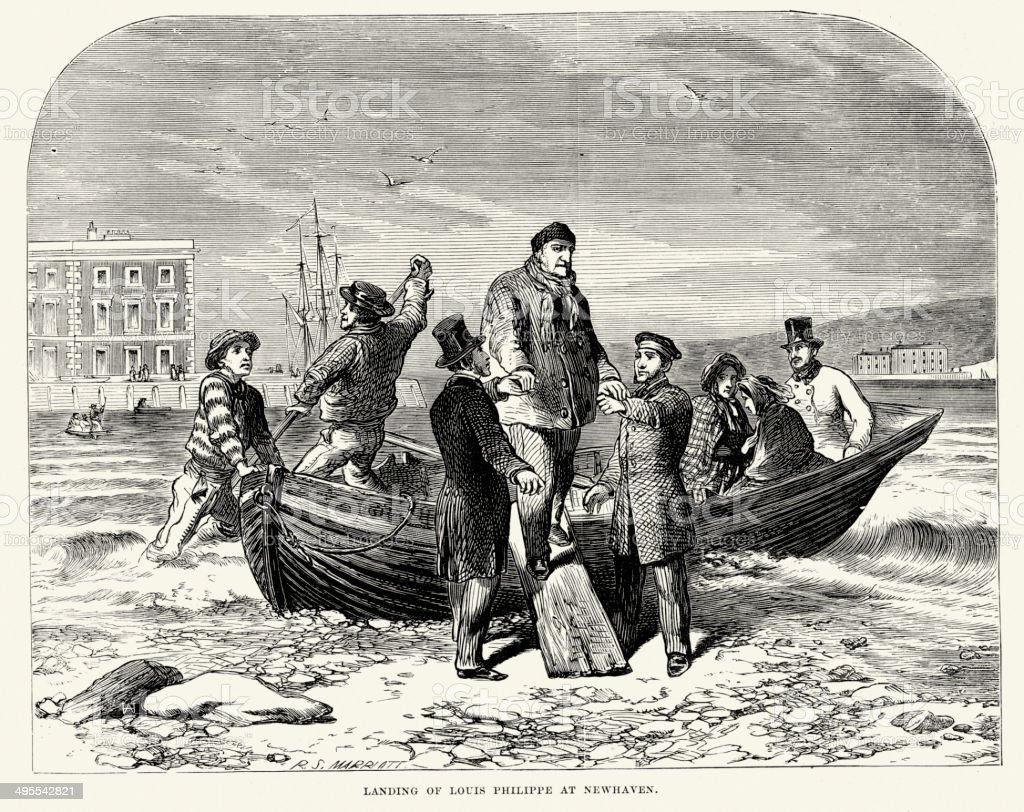 Landing of Louis Philippe at Newhaven royalty-free stock vector art