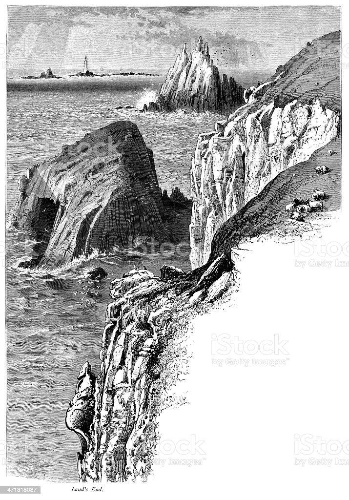 Land's End, Cornwall, England vector art illustration