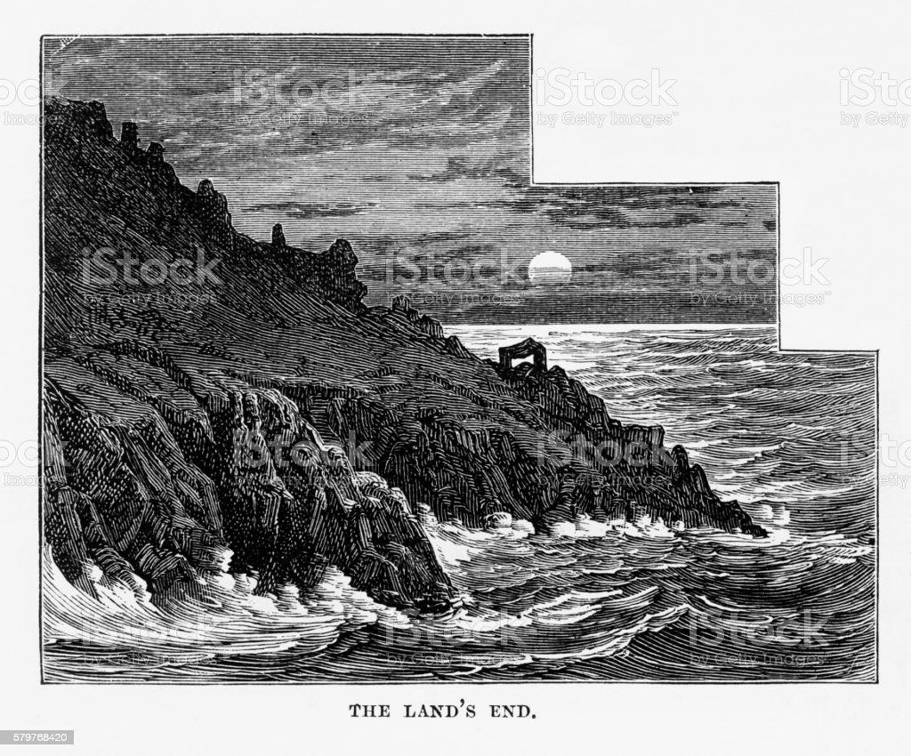 Land's End in Cornwall, England Victorian Engraving, Circa 1840 vector art illustration