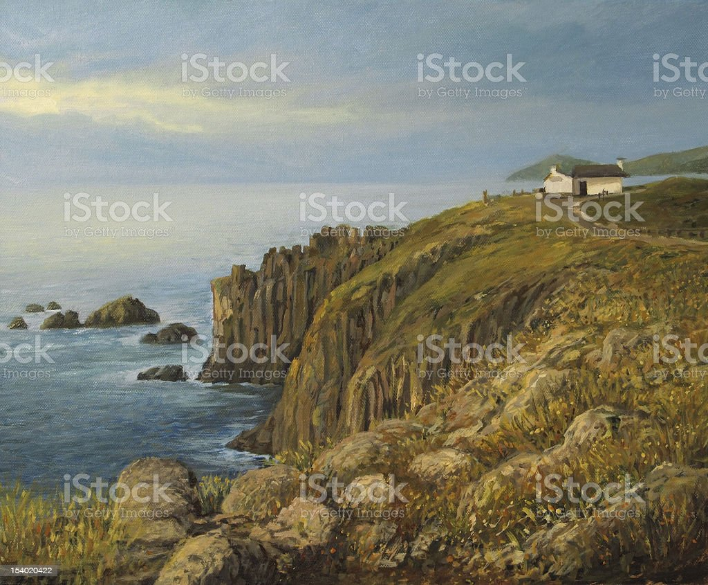 Land's End in Cornwall vector art illustration