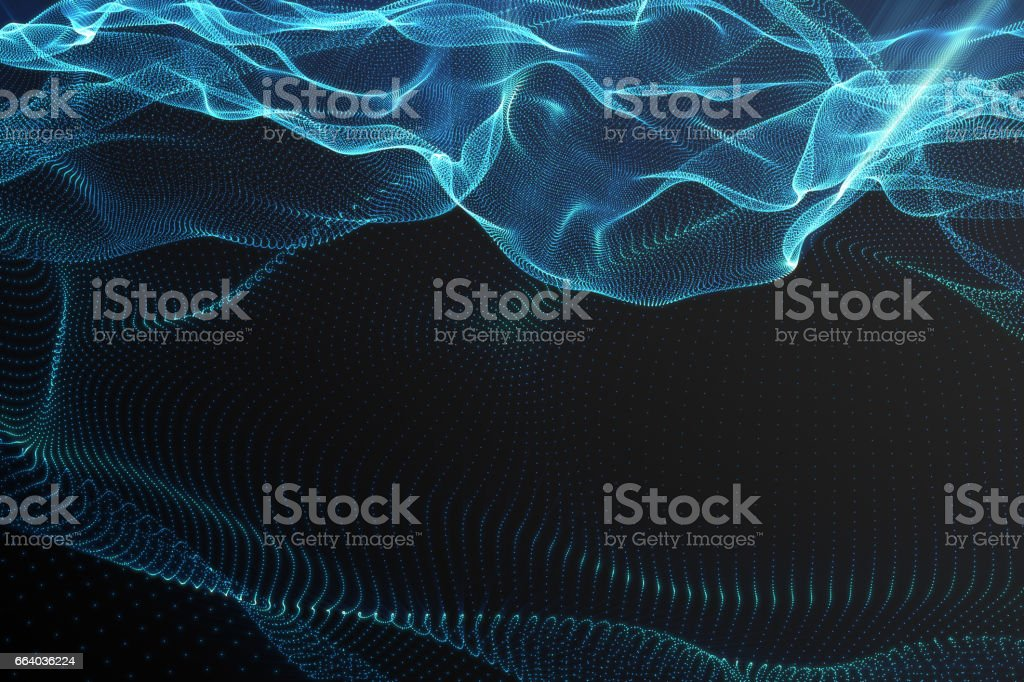 Landscape background. Cyberspace landscape grid. 3d technology. Abstract landscape on black background with light rays. 3d rendering stock photo