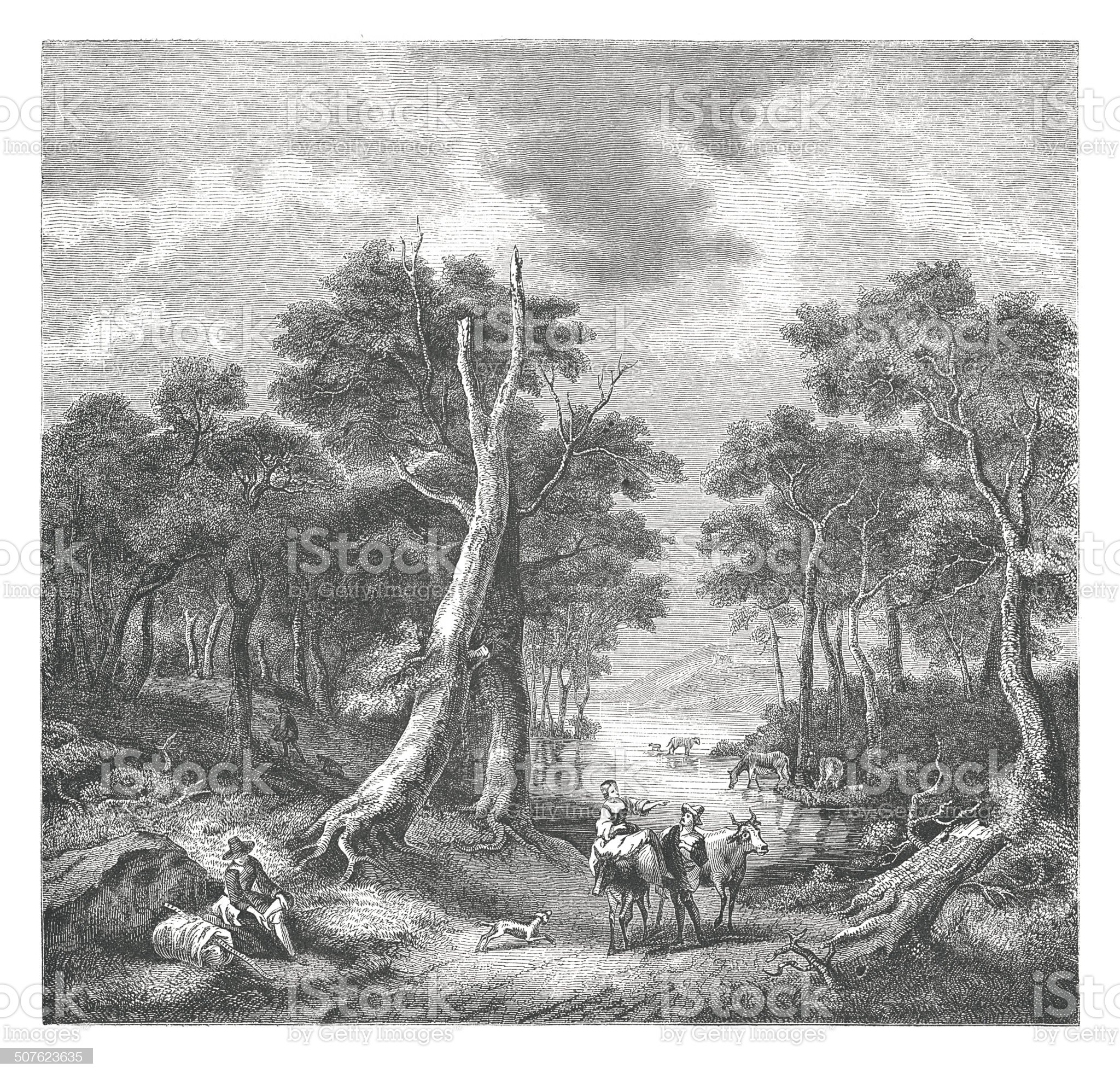 Landscape by Jacques Ruisdael (antique engraving) royalty-free stock vector art