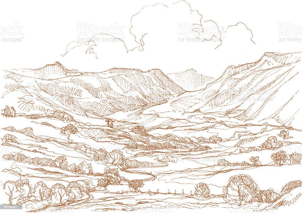Landscape drawing. vector art illustration