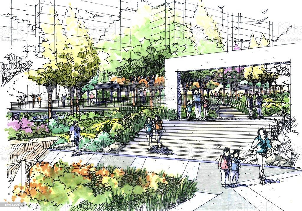 Landscape garden sketch series 02 stock vector art for Landscape design sketches