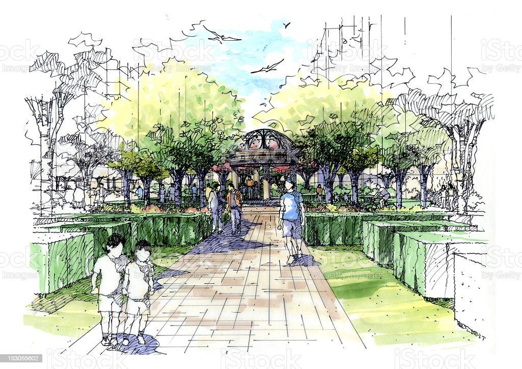 Landscape garden sketch series 10 stock vector art for Landscape design sketches