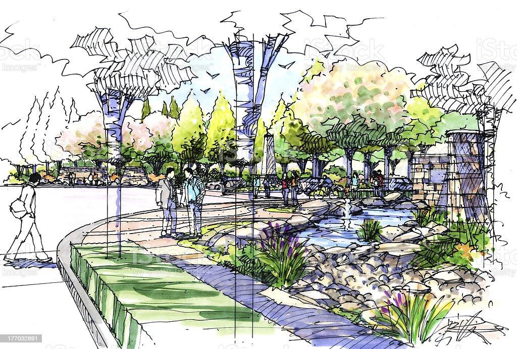 Landscape Garden Sketch Series 17 Stock Vector Art
