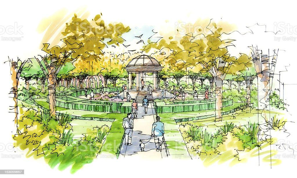 Landscape garden sketch series 18 vector art illustration
