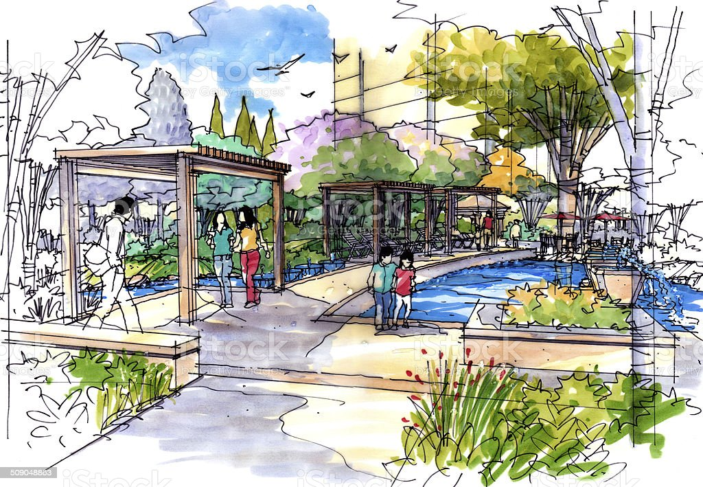Landscape garden sketch series 26 vector art illustration