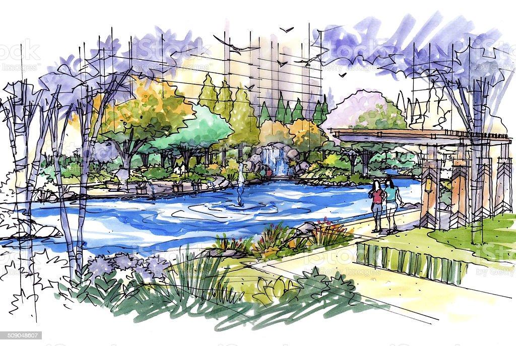 Landscape garden sketch series 28 vector art illustration