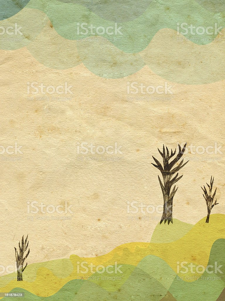 Landscape illustration with mountains, trees and clouds on vintage paper vector art illustration