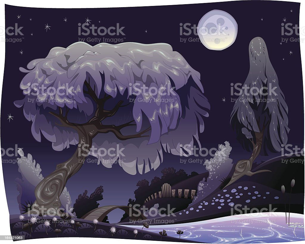 Landscape in the night with river. royalty-free stock vector art