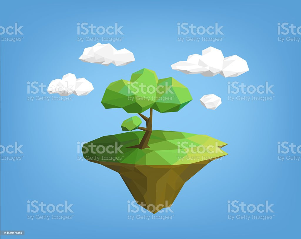 landscape low poly style - tree on island vector art illustration