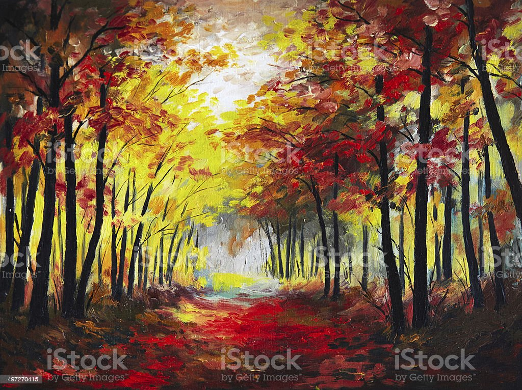 landscape oil painting - colorful autumn forest vector art illustration