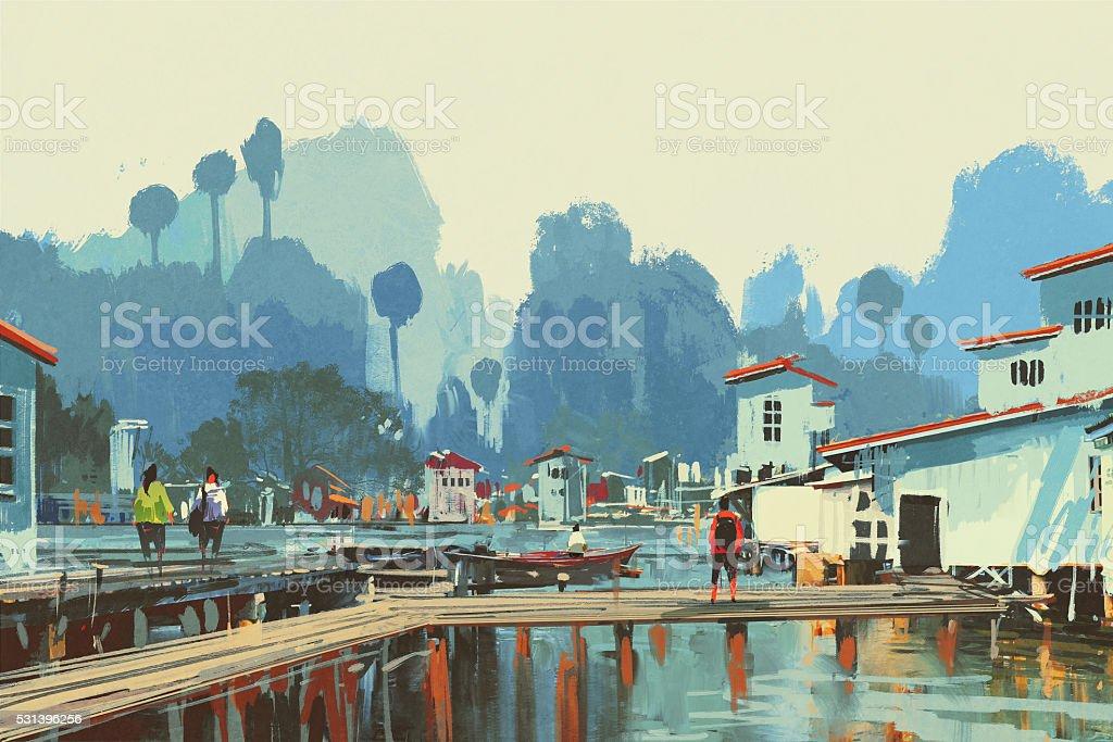 landscape painting of river village vector art illustration