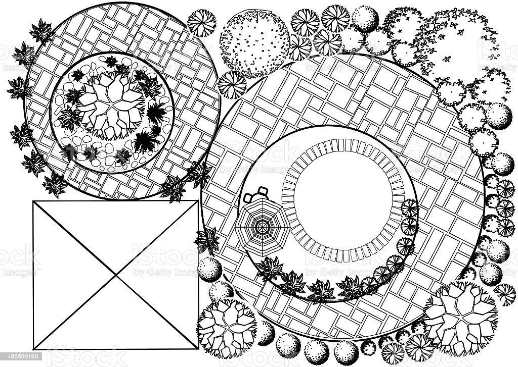 Landscape Plan with treetop symbols vector art illustration