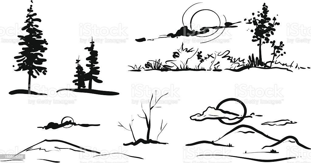 Landscape set royalty-free stock vector art