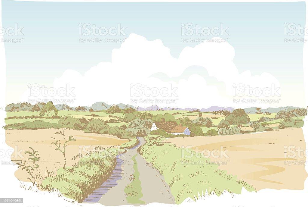 Landscape sketch vector art illustration