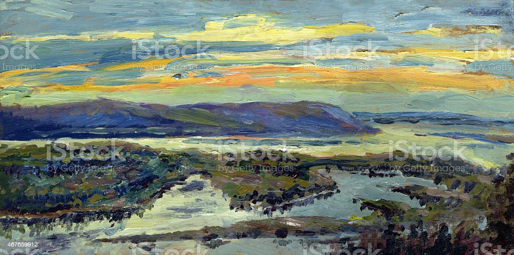 landscape with an island on the river vector art illustration