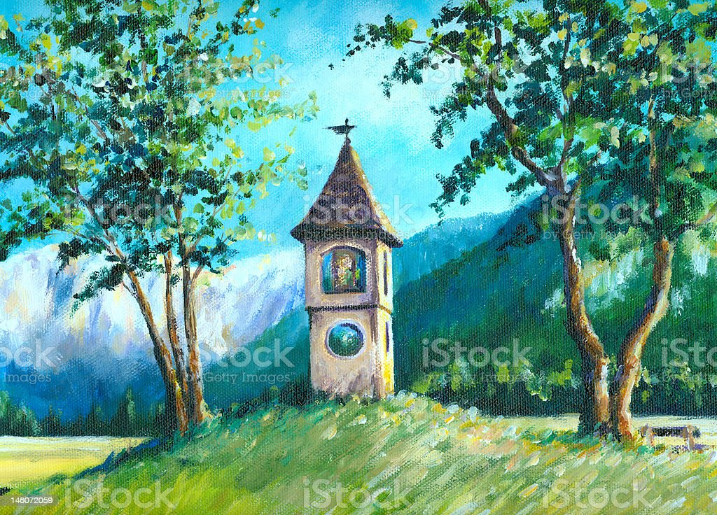 Landscape with chapel. royalty-free stock vector art