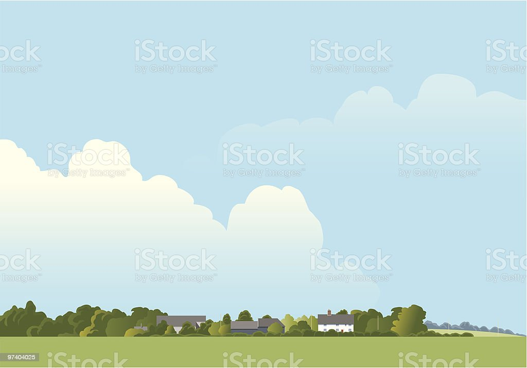 Landscape with farm. vector art illustration