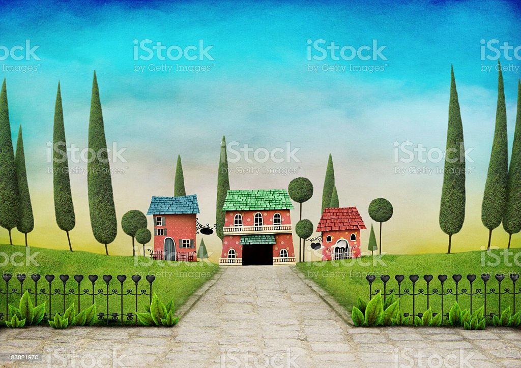 Landscape with houses and gates vector art illustration