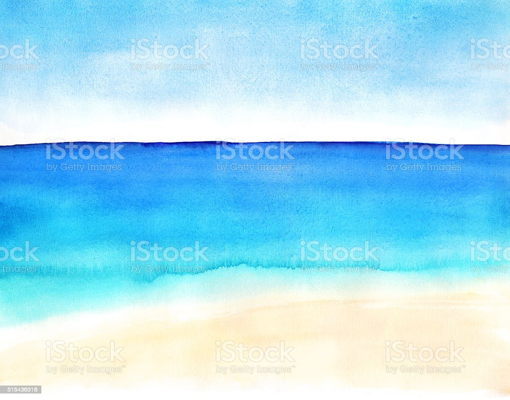 landscape with sand beach and ocean vector art illustration