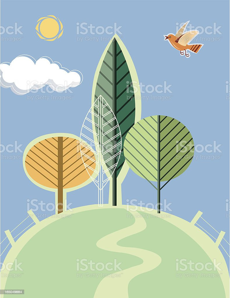 Landscape with trees royalty-free stock vector art