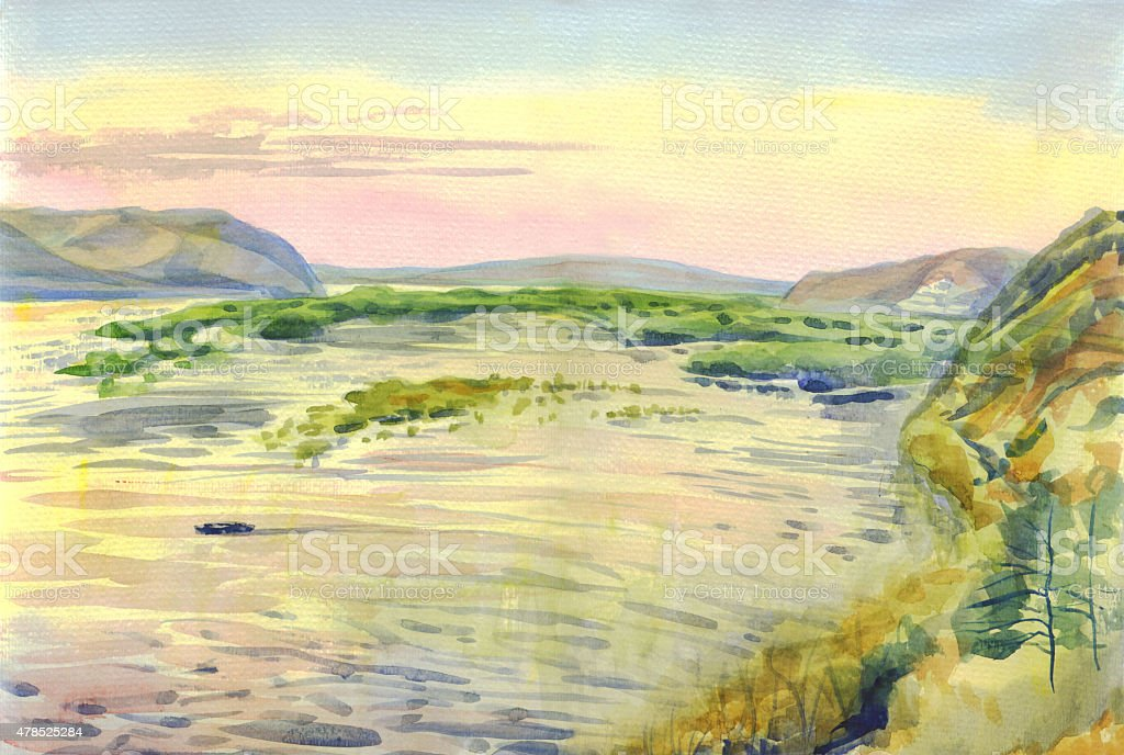 Landscape with view of mountains and Islands. Painting. Watercolor vector art illustration