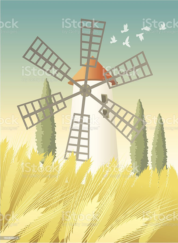 Landscape with windmill and wheat field royalty-free stock vector art