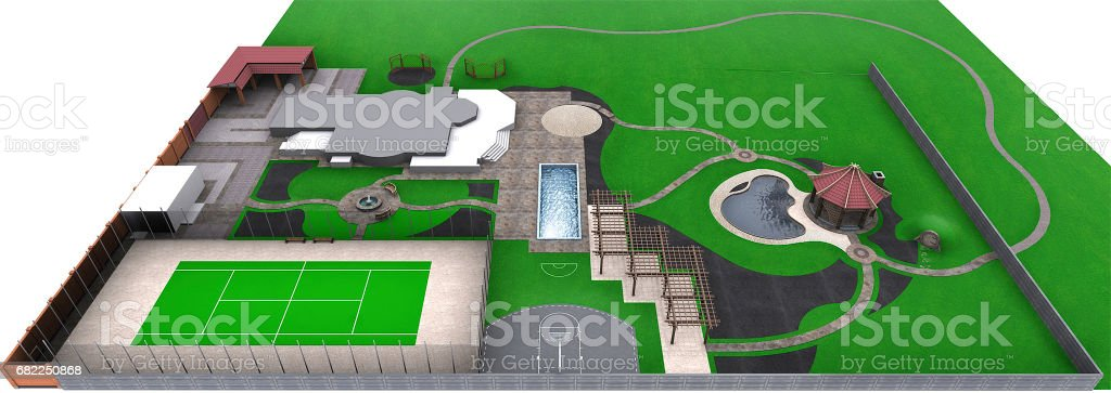 Landscaping master plan, 3d render vector art illustration