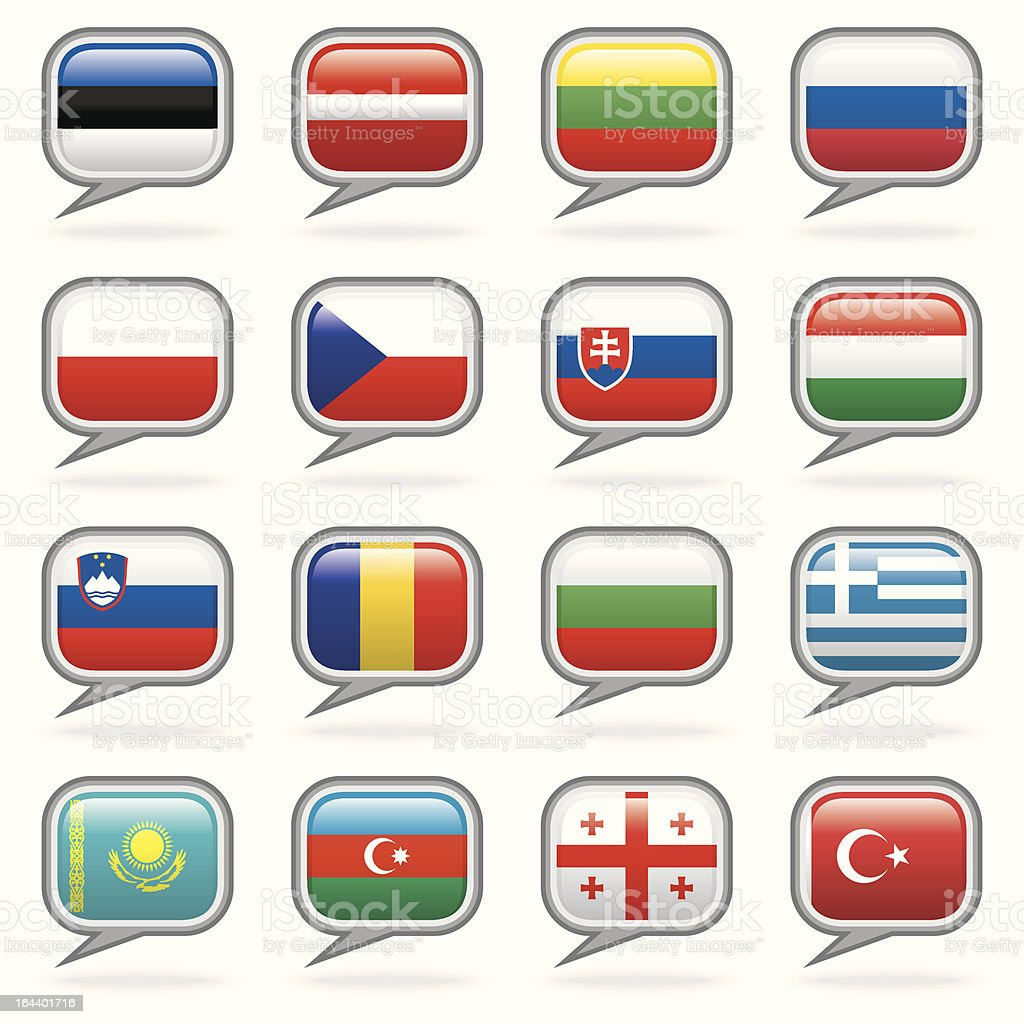 Languages Of The World - Eastern Europe and Eurasia Set royalty-free stock vector art