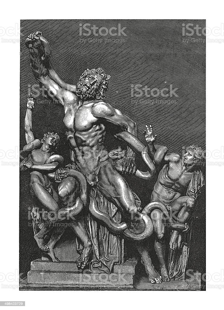 Laocoon and His Sons (antique engraving) vector art illustration