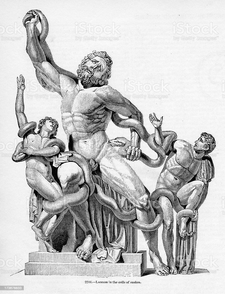 Laocoon in the coils of snakes royalty-free stock vector art