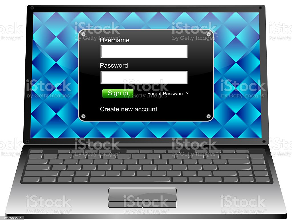 Laptop Computer with Login screen vector art illustration