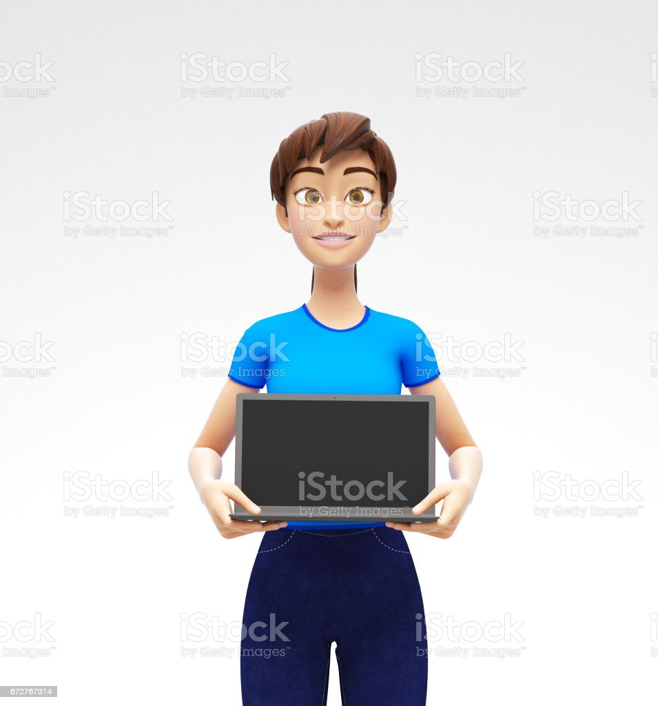 Laptop Mockup With Blank Screen Held by Smiling and Happy Jenny - 3D Cartoon Female Character in Casual Clothes vector art illustration